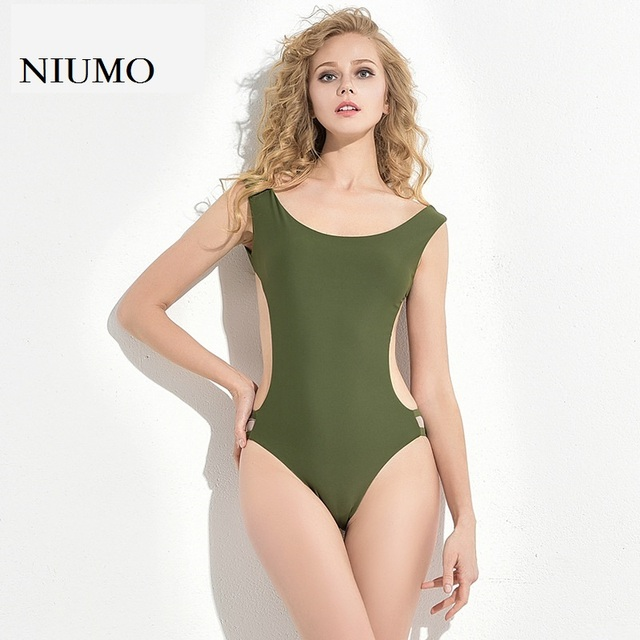 a3a08e76842 Cheap NIUMO Women s clothing 2018 New Hollow Self-cultivation Sexy  ArmyGreen Pure color Swim One