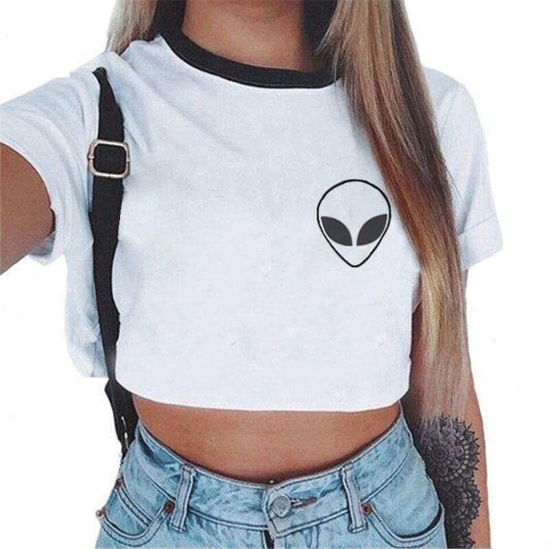 ZZSYKD Modieus Print Alien Crop Top T-shirt met korte mouw Vogue - Dameskleding