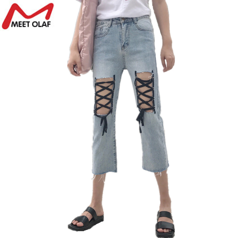Women Jeans Sexy Hollow Out Ripped Cross Lace Up Loose Denim Pants Female Vintage Holes Beach Calf-length Fringe Trousers YL932