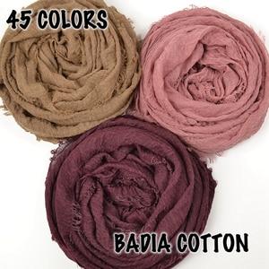 Image 5 - 10pcs/lot women crinkle solid hijabs scarf oversize islam shawl head wraps soft long muslim frayed wrinkle cotton plain hijab