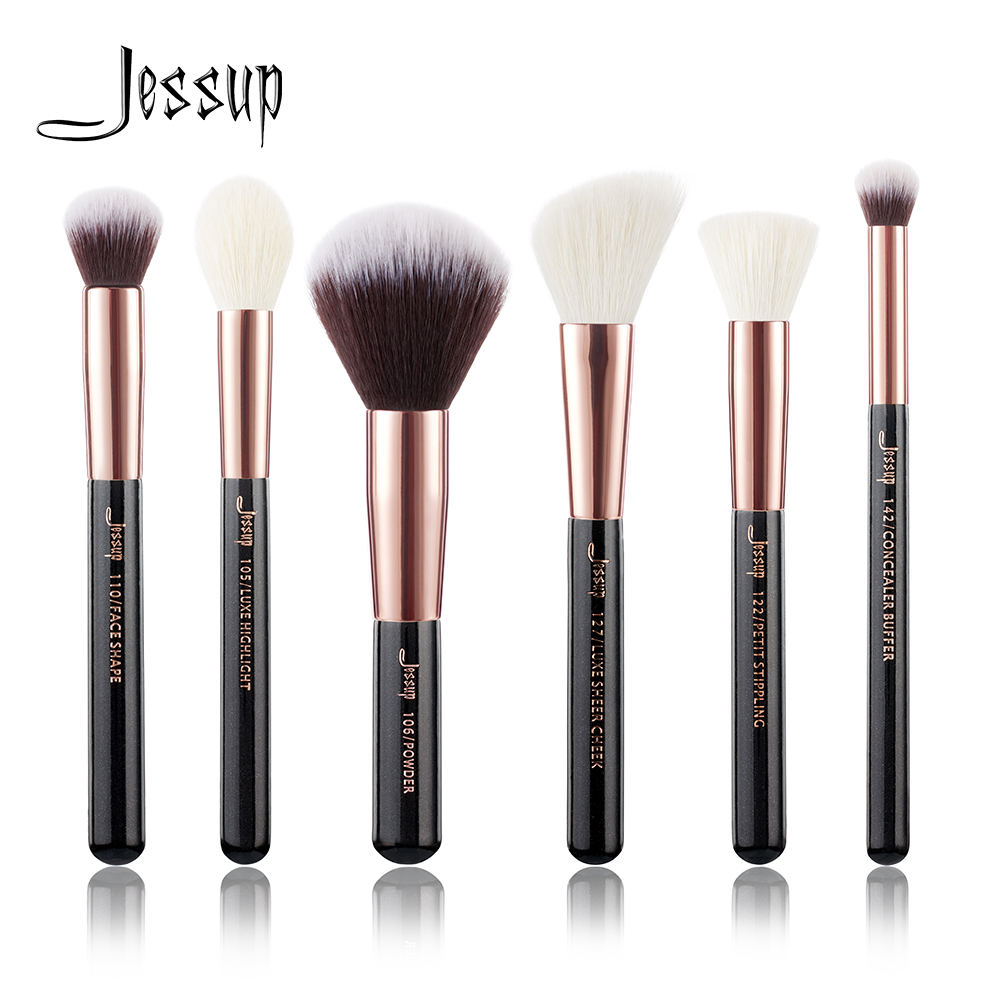 Jessup Black Rose Gold Professional Makeup Brushes Set Make up Brush Tool kit Buffer Paint Cheek