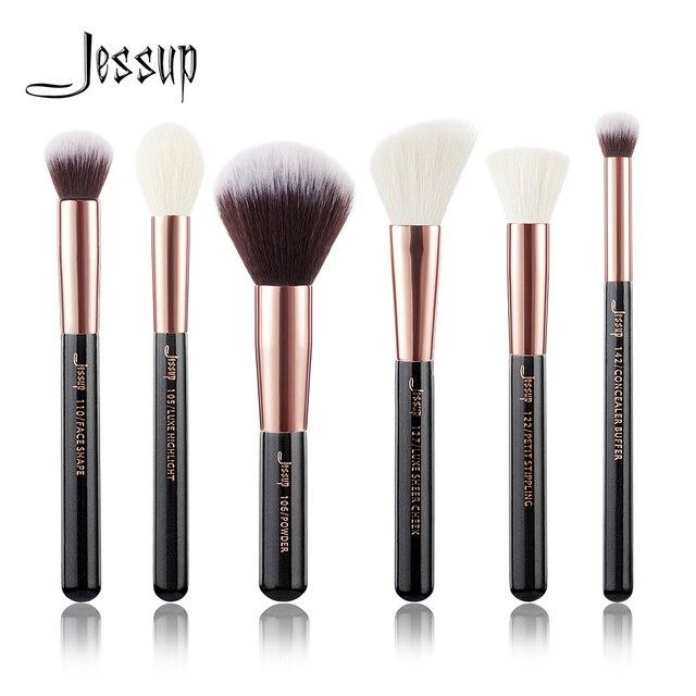Jessup Black/ Rose Gold Professional Makeup Brushes Set Make up Brush Tool kit Buffer Paint Cheek Highlight Make up brush beauty