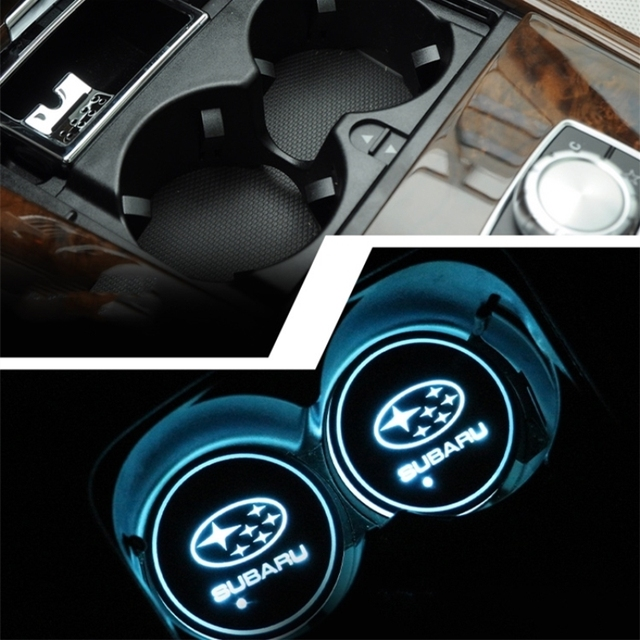 Led Car Cup Holder Light Cup Mat Lights Led Car Logo Stickers For