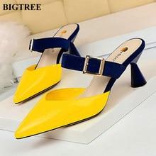 735c6409 Big Tree mujeres Baotou zapatillas coreano colores mezclados rebaño hebilla  de cinturón de las mujeres zapatos