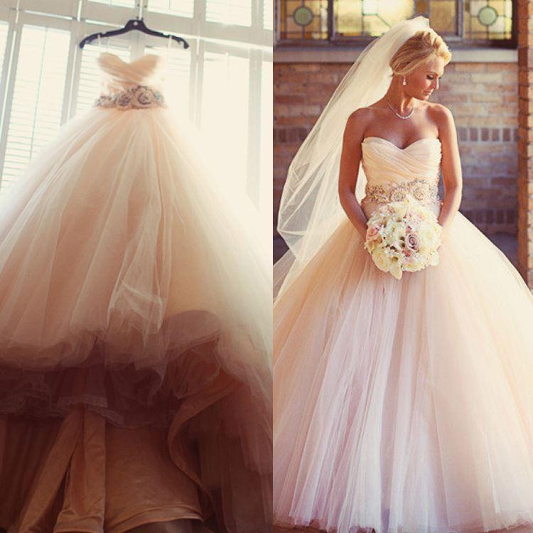Charming Blush Pink Wedding Dresses 2016 Tulle Beaded Sash