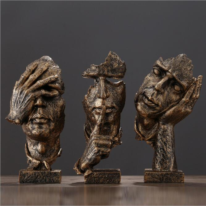Creative vintage keep silence figurines abstract sculpture ornament modern home decorations living room furnishings resin crafts
