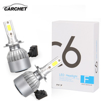 CARCHET Car H7 LED Headlight Bulbs C6 Conversion COB Kit 72W 7600lm 6000K Plug Play White