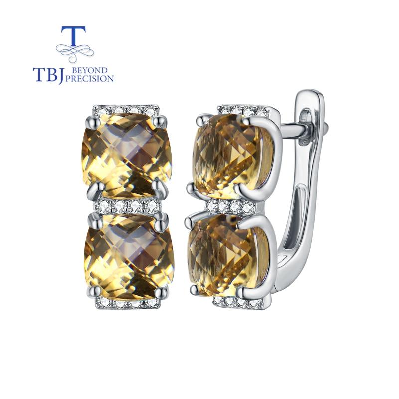 TBJ, boucles d'oreilles en damier naturel citrine cu7.0mm en 925 bijoux en argent sterling avec pierres précieuses pour dame meilleure boîte-cadeau