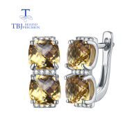 TBJ,natural citrine cu7.0mm checkerboard cuting earrings in 925 sterling silver gemstone fine jewelry for lady best gift box
