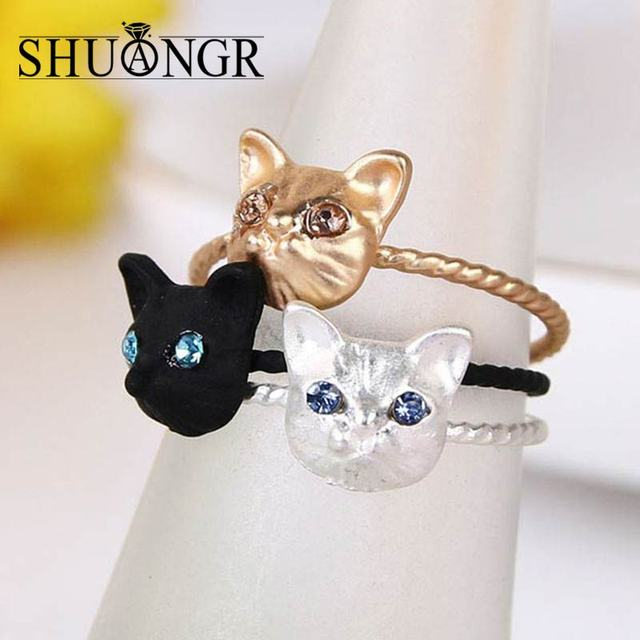c7fee5a0d SHUANGR Silver Gold Black Color Cat Ear Ring Design Cute Fashion Jewelry  Cat Ring For Women and Girl Gifts Charms Anel