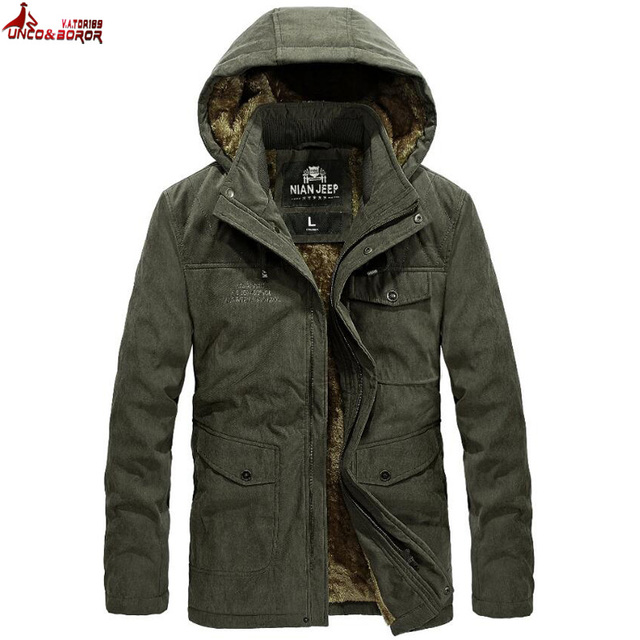 Special Price UNCO&BOROR New Winter Coat male Parka Men Thick Warm Wool Liner Hooded Collar Winter Jacket Men parka Coat size M~XXXL