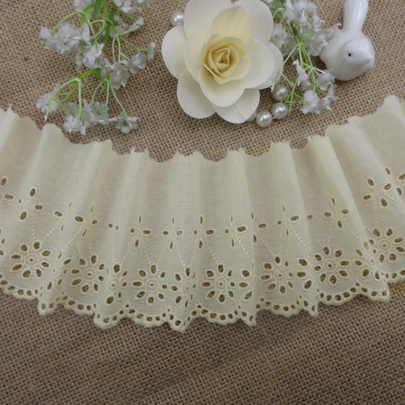 (12yards/lot) 100% cotton cloth embroidered off white lace trim fabric high quality width 8.5cm Free shipping