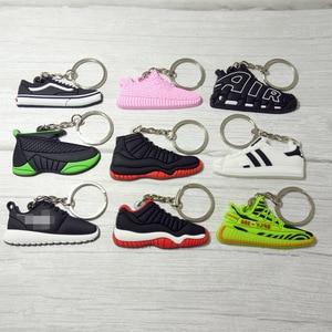 سيليكون الأردن مفتاح سلسلة الأحذية حقيبة سلسلة مفاتيح سحر امرأة الرجال الاطفال حلقة رئيسية الهدايا حذاء رياضة مفتاح حامل اكسسوارات