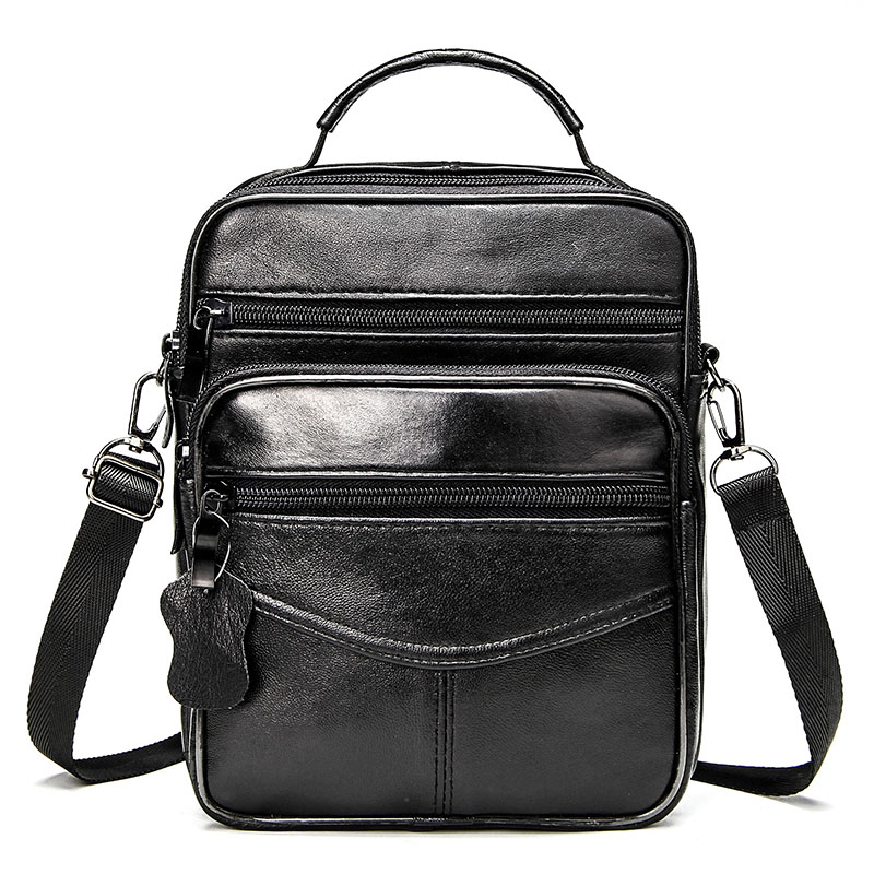 Genuine Leather Male's Crossbody Bag Casual Business Leather Men's Messenger Bag Vintage Men Big Bag Zipper Shoulder Handbags