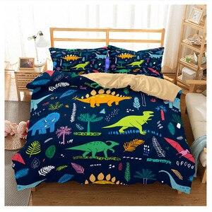Image 3 - Jurassic Park 3D Dinosaur Bed Set Boys Bedclothes Childrens Bed Linen Set Bed Duvet Cover AU EU Single for Teens Bedding set
