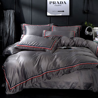 Luxury Washed Silk Solid Colour Ribbon Bedding Set Silky Smooth Duvet cover set Bed Sheet Pillowcases Queen King size 4pcs