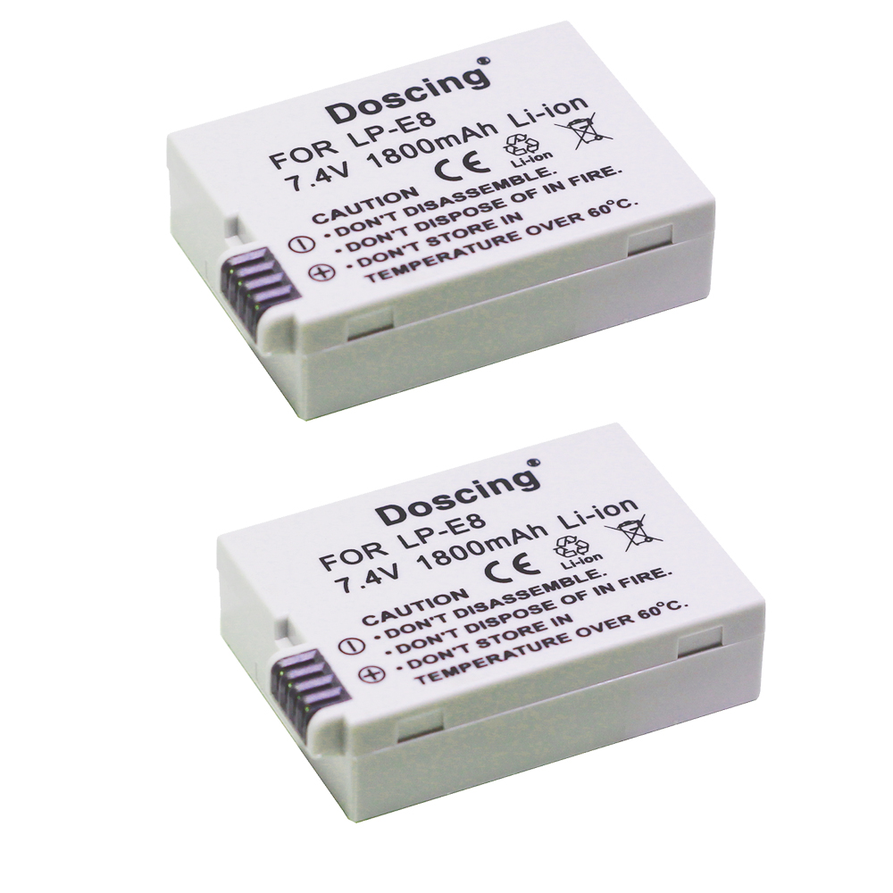 2pcs 1800mAh LP-E8 LP E8 Camera <font><b>Battery</b></font> For <font><b>Canon</b></font> EOS 550D 600D <font><b>650D</b></font> 700D X4 X5 X6i X7i Rebel T2i T3i T4i T5i LC-E8E SSY-2290 image