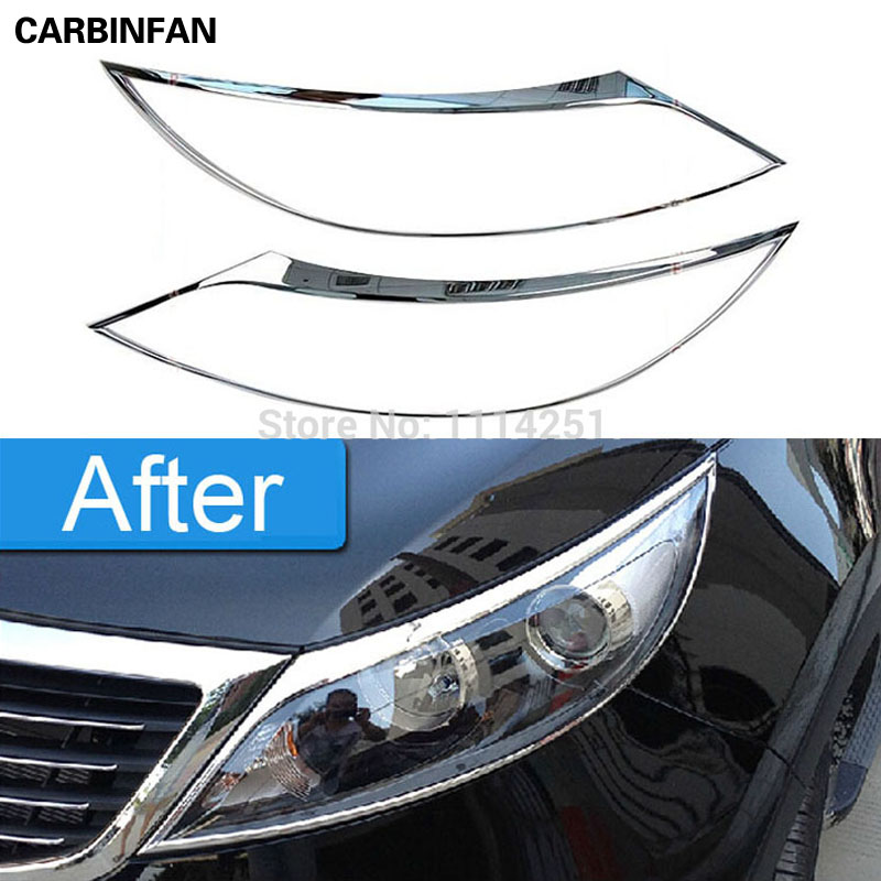 Free shipping For 2010 2011 2012 Kia Sportage r ABS Chrome Front Tail Light Lamp Cover