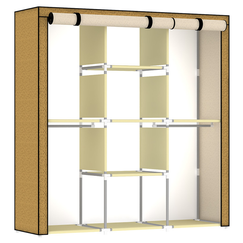 DIY Simple Folding Steel Non-Woven  Composition Of The Closet Wardrobe simple fashion moistureproof sealing thick oxford fabric cloth wardrobe rustproof steel pipe closet 133d