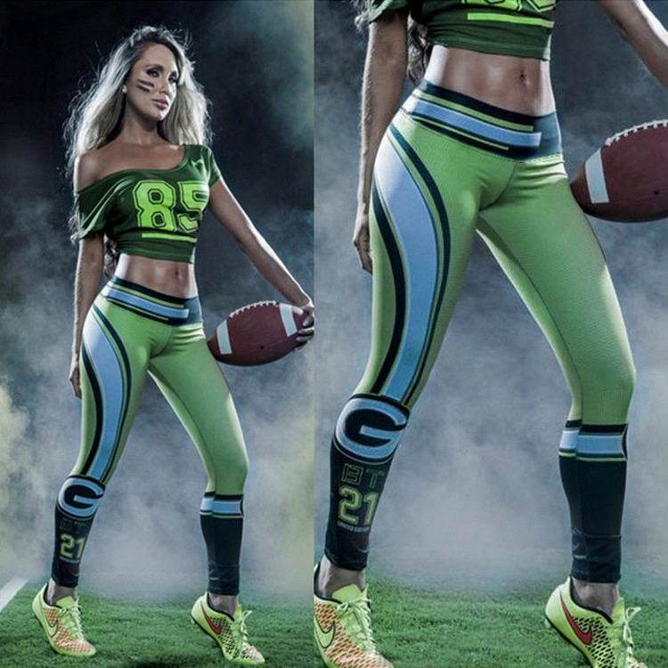 Amerikanischen Fußbälle Green Bay Packers Fitness Leggings Elastische Faser Hüfte Hop Party Cheerleader Workout Hosen Hosen