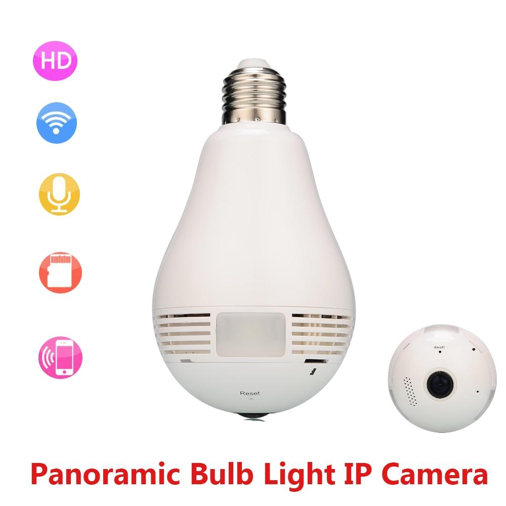 imágenes para Cámara de La Lámpara Bombilla de Luz de la Cámara IP Inalámbrica Wifi Seguridad Para El Hogar P2P 1.3MP 960 P Fisheye Panorámica de 360 Camara de Vigilancia de Audio
