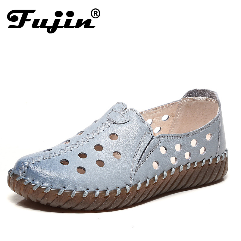 Fujin 2019 Summer women genuine leather flats women platform sneakers creepers cutouts slip on flats moccasins