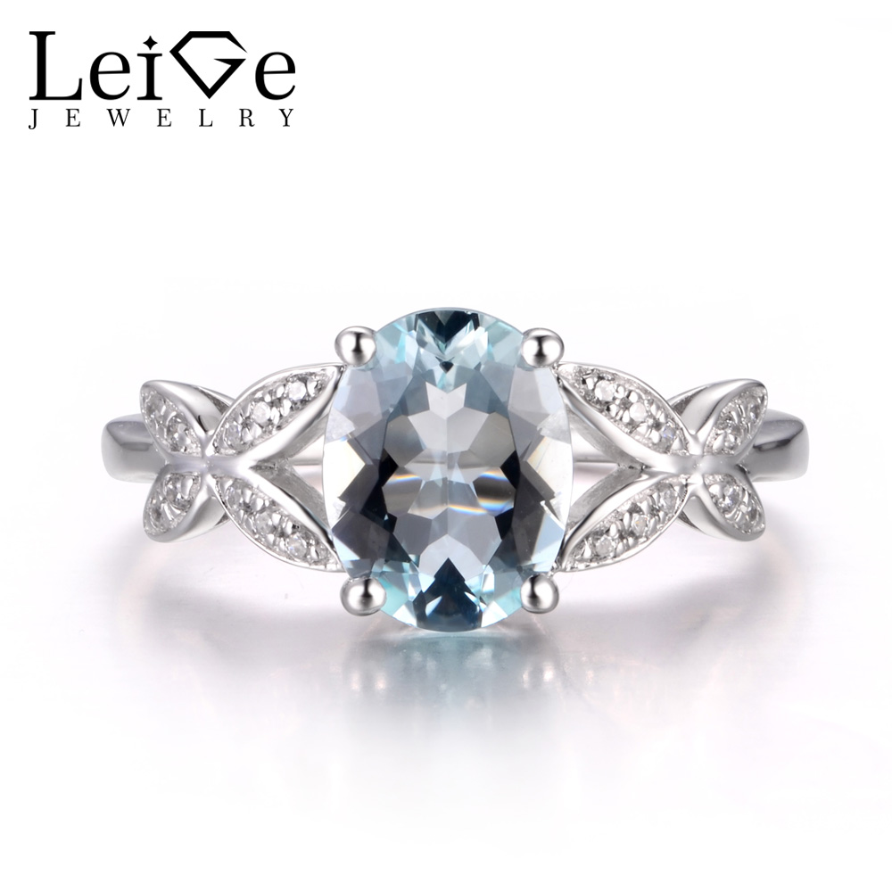 LeiGe Jewelry Natural Blue Aquamarine Rings Anniversary Rings March Birthstone Oval Cut Blue Stone Ring Real 925 Sterling Silver