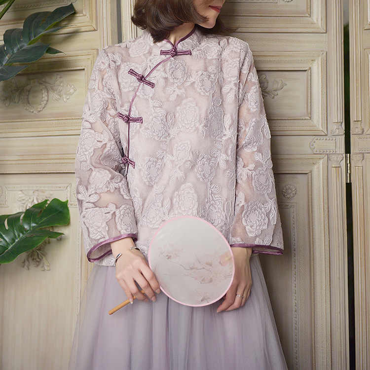 Johnature New Vintage Floral Print Stand Buckle Cheongsam Tops 2019 Autumn Comfortable Lace All-match Full Sleeve Women Shirt
