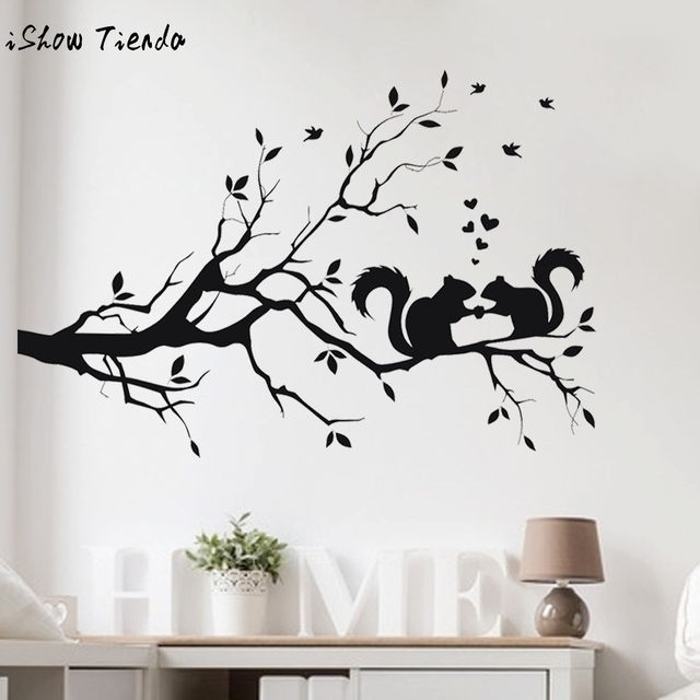 Wall stickers squirrel on long tree branch wall sticker animals cats art decal kids room decor - Stickers branche d arbre ...