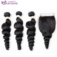 BEAUDIVA Brazilian Loose Wave Bundles With Closure 100 Human Hair Weave Bundles 23 Bundles With Closure