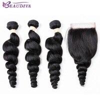 BEAUDIVA Brazilian Loose Wave Bundles With Closure 100 Human Hair Weave Bundles 23 Bundles With Closure