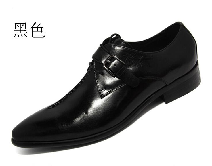 Size 45 Men Dress Genuine Leather Shoes Man Pointed Toe Business Leather Shoes Buckle Strap Men's Oxfords formal shoes mens genuine leather pointed toe buckle leather shoes crocodile print oxfords business man wedding shoes formal dress shoes