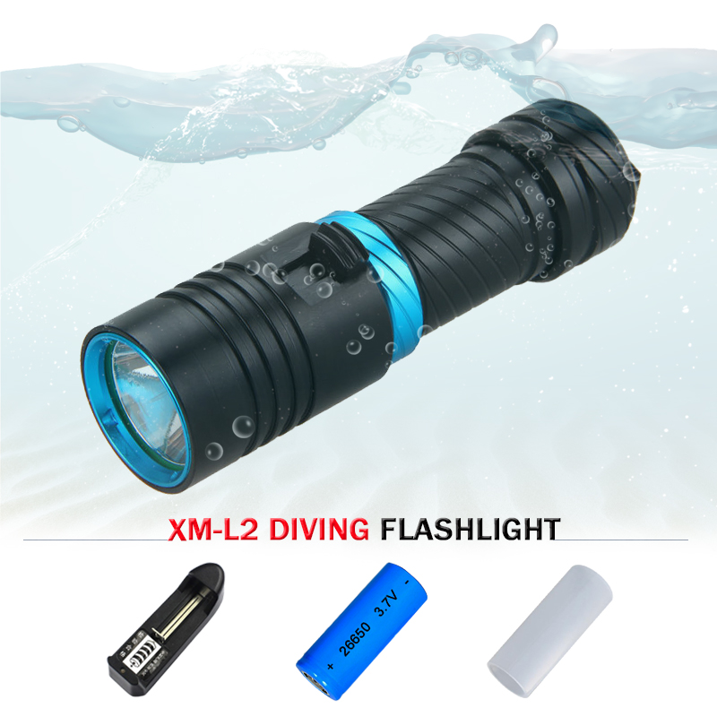 18650 or 26650 batteries Diver Scuba flashlights LED Diving Flashlight L2 Torch underwater light CREE XM L Lamp 5000 lumens 100m led diving flashlight diver torch scuba flashlights underwater light 3200lumen cree xm l2 lamp rechargeable waterproof