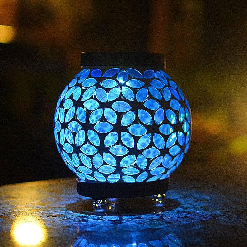 Veilleuse fée LED fleur bleu mosaïque boule de verre énergie solaire Luminaria pour vacances noël mariage décoration pour chambre