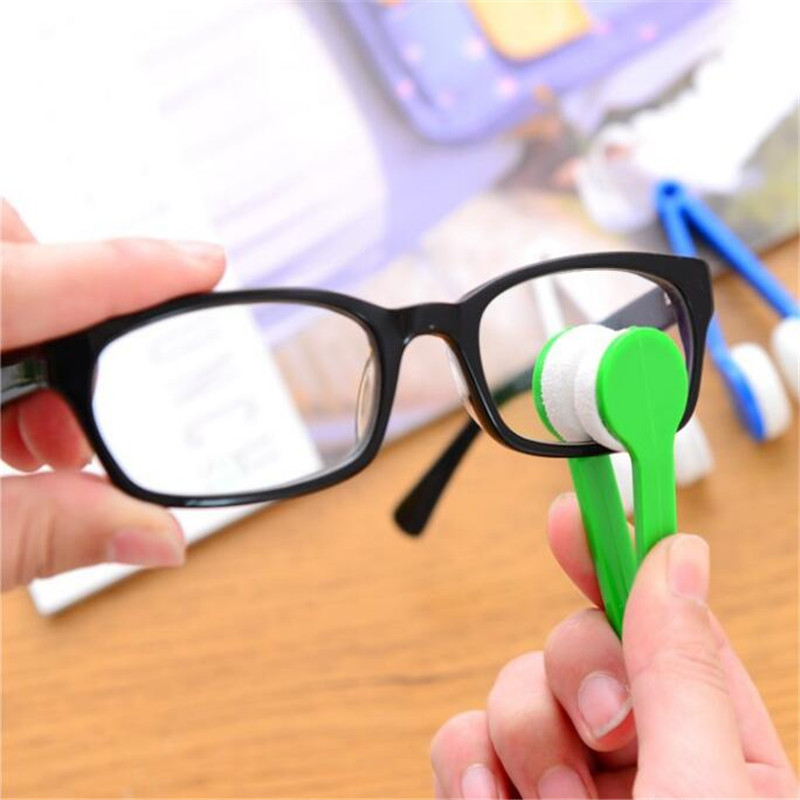 1PC 5Color Mini Microfiber Two-side Sunglasses Brush Eyeglass Cleaner Brush Spectacles Rub Cleaner Glasses Clean Tool Brush(China)
