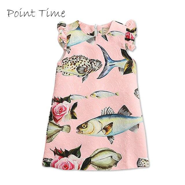 a0e50cb28cd90 New Cute Pink Girls Dress 2017 New Spring&Summer Baby Girls Dress Small Fish  Pattern Print Brand Design Sleeveless Girls Clothes