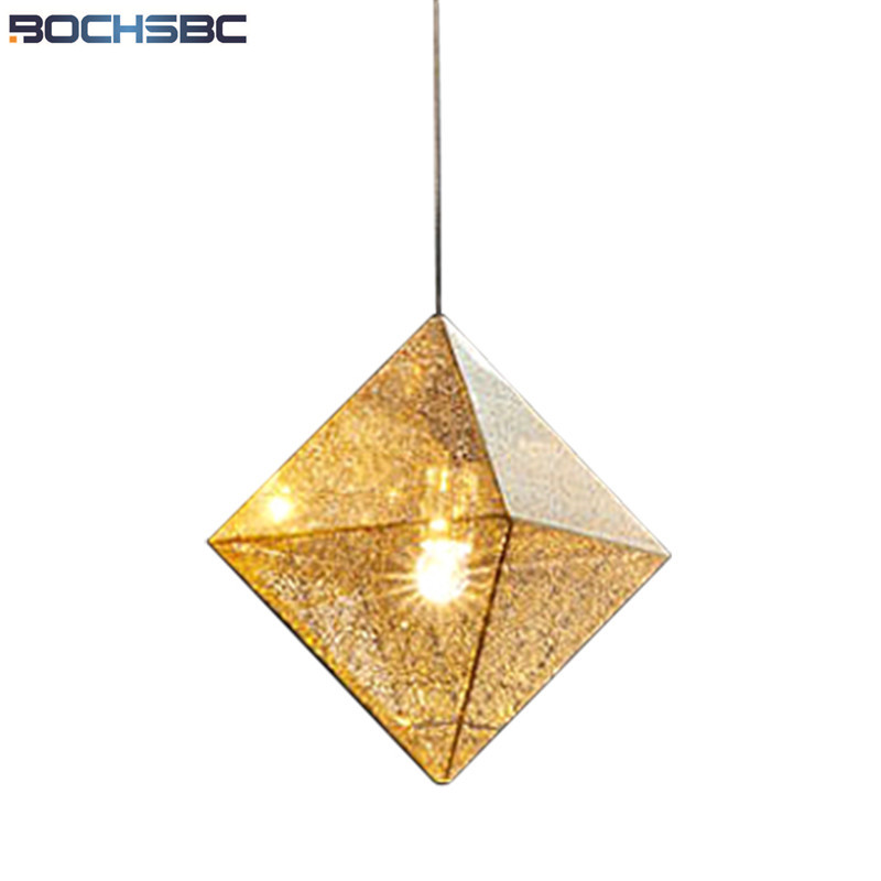 Nordic Simple Net Shape Pendant Light Kitchen Dinning Room Hanging Lamp Bar Polyhedral Pendant Lamp Stainless Steel