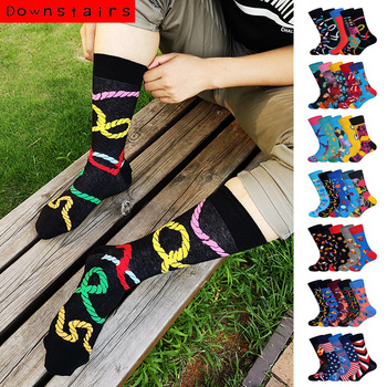 Downstatirs 5Pairs/lot New Arrived Funny Art Brand Designer BritishStyle Street Fashion Hip Hop Harajuku Crew Happy Socks Men