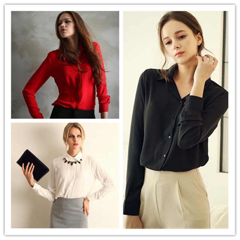 100pcs/lot Women's Shirt Solid Color Long Sleeve Large Size Chiffon Shirt Comfortable Slim Office Top 5 Colors 2