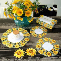 Embroidery tablecloth traycloth simple pastoral hollow table napkin golden sunflower cover towels