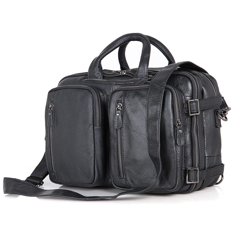 Nesitu noir en cuir véritable hommes porte-documents bureau travail portefeuille affaires voyage épaule Messenger sacs de haute qualité M7014