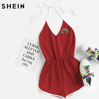 SheIn Ladies Rainbow Patch Contrast Binding Halter Romper Women Ladies Sexy Rompers Summer Red Sleeveless Romper