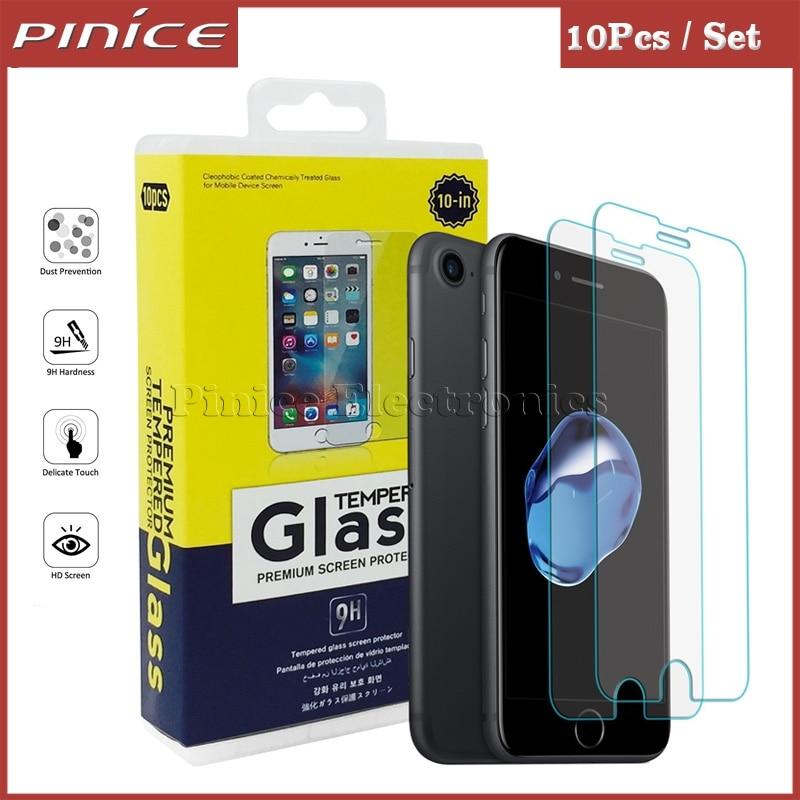 imágenes para 10 unids templado protector de pantalla de cristal para iphone 7 plus hd clear película protectora para el iphone 6 6s plus 4S 5S se con paquete