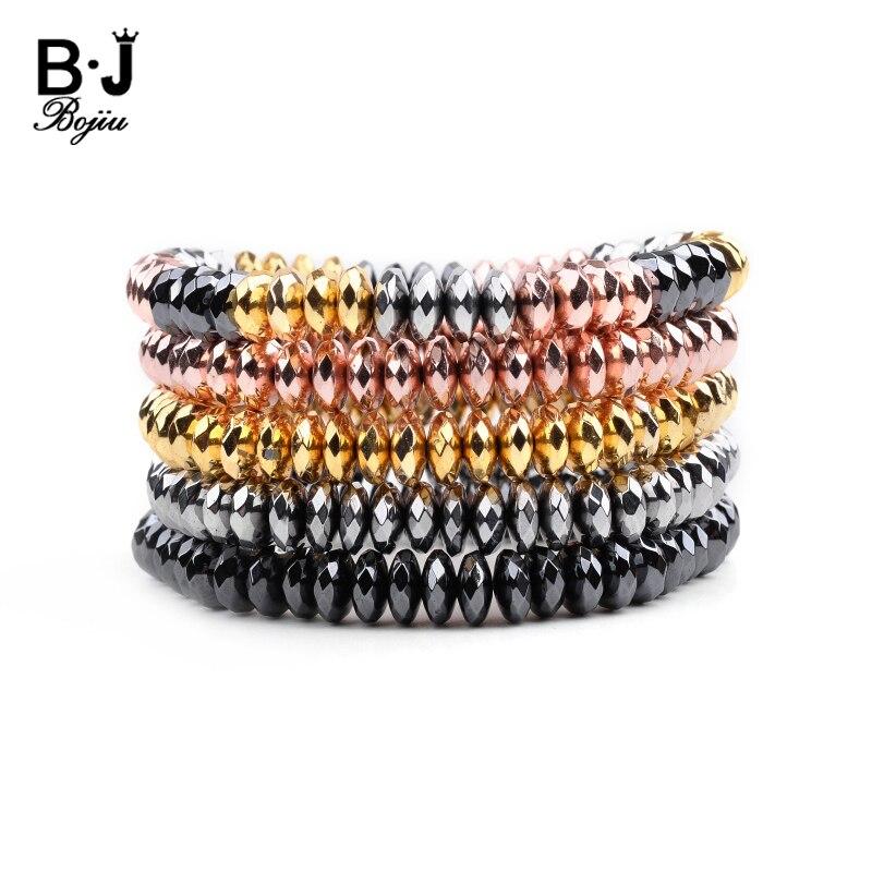 2019 Latest Trendy Heishi Rondelle Faceted Hematite Stone Womens Bracelets Rose Gold Black Beads Elastic String Bracelet BC315