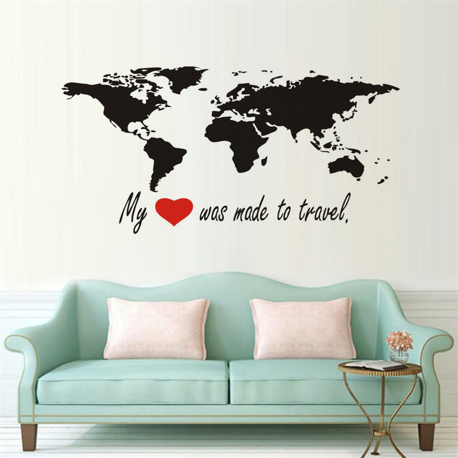 charming bedroom wall art stickers | DCTOP My Heart Was Made To Travel World Map Wall Stickers ...