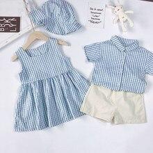 Família combinando roupas verão criança meninas vestido, irmão irmão família olhar roupas outfits xadrez bebê meninos meninas conjunto de roupas