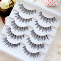 5 Pairs Crisscross Thick Long False Eyelashes Fake Black Brown Extension Handmade Smoked Makeup Cosmetics for Cosplay Party