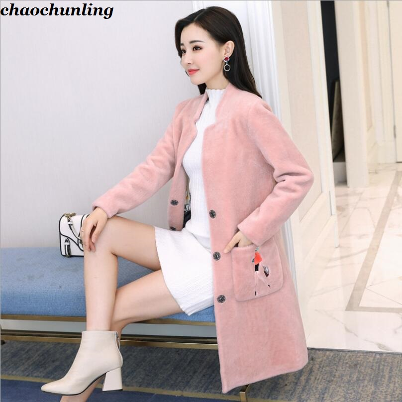 2017 New Autumn and Winter Women Fur Coat Jackets Super Warm With Pockets Lady Cashmere100% Coat Black Pink Red and Beige Colors england style 2017 new winter lady hooded balls jackets pink red black gray and blue lady down jackets imitation fox fur hat