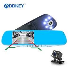 ADDKEY Автоматическая Автомобильная камера Dvr ночное видение 5 светодиодных огней видеорегистратор зеркало заднего вида Dvr две камеры регистратор видеокамера автомобильная камера