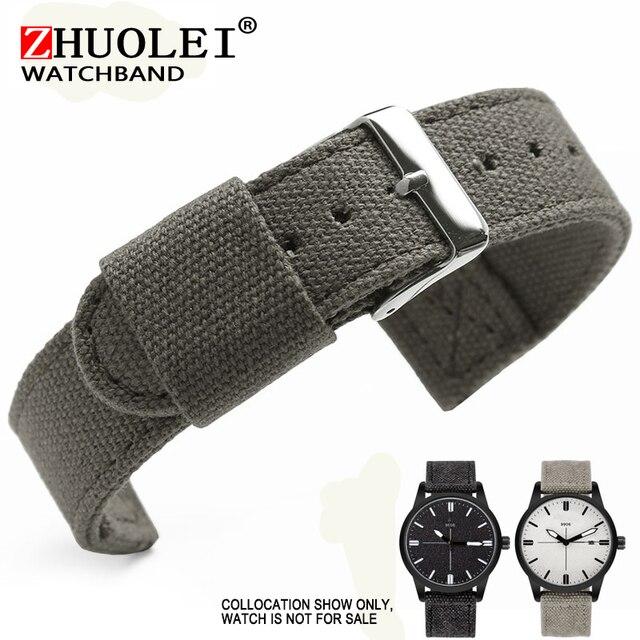goedkoop kopen beste sneakers anders US $9.75 11% OFF|18/20/22mm zamiennik dla SW armia/Timberland pasek do  zegarka płótnie czarny/szary bransoletka do zegarka z ze stali nierdzewnej  ...